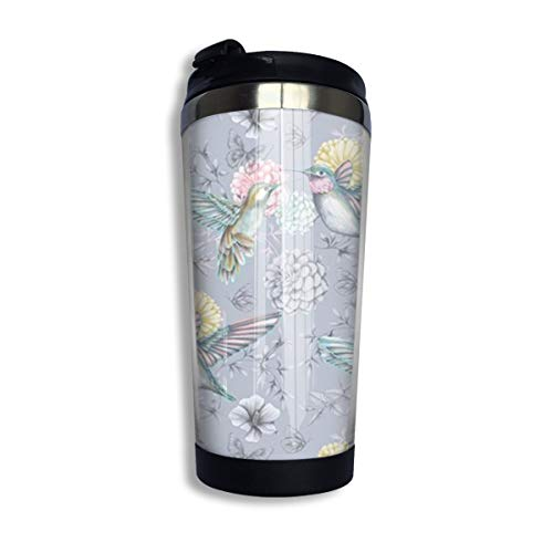 Kuyanasfk Hummingbird Flying with Flowers Stainless Steel Coffee Tumbler Travel Cup Vacuum Insulated Coffee Mug 13.5oz for Men & Women Home Office Camping from Kuyanasfk