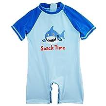 Sweet & Soft Little Boys' Shark Time Animal Print 1-Piece Swim Rash guard, Ocean Blue, 3T