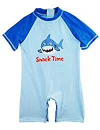 Sweet & Soft Little Boys' Shark Time Animal Print 1-Piece Swim Rash guard, Ocean Blue, 3T