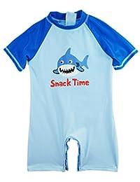 Sweet & Soft Little Boys' Swimwear Shark Time Animal Print 1-Piece Rashguard, Ocean Blue, 2T