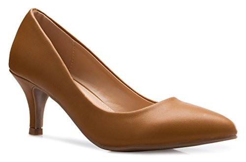 OLIVIA K Women's Classic D'orsay Closed Toe Kitten Heel Pump | Dress, Work, Party Low Heeled Pumps | high Casual Comfortable (Classic Low Heel Heels)