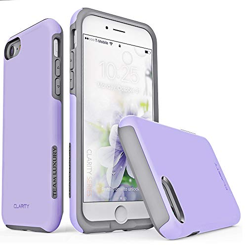 TEAM LUXURY [Clarity Series Case for iPhone 7 & 8, Updated G-II Ultra Defender [Shock Absorbent] Premium Protective Phone Case (4.7 Inch) - Purple/Gray