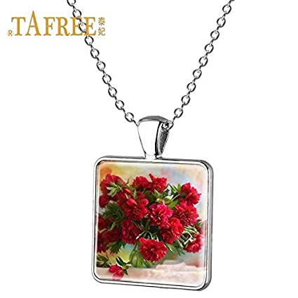 Metal Color: 1 Davitu Handmade Vintage Style Natural Dried Flowers Long Necklaces /& Pendants for Women Retro Gift Vintage Bronze Jewelry