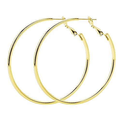 Rugewelry 925 Sterling Silver Hoop Earrings,18K Gold Plated Polished Round Hoop Earrings For Women,Girls' Gifts (Earrings Plated Gold 18k)