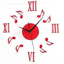 Alrens_DIY(TM) Musical Notes Roman Numerals 3D Acrylic Silent Non-ticking Quartz Creative Antique DIY Self Adhesive Home Decor Digital Home Décor Retro Art Wall Clock Housewarming Gift Living Room Decoration (Red)