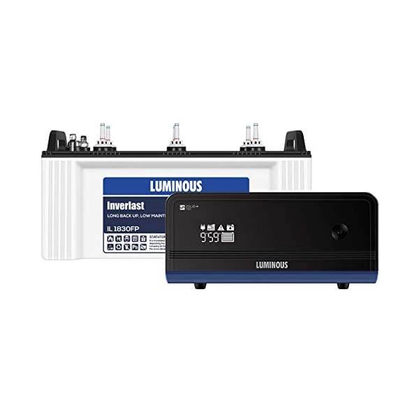 Luminous Zelio 1100+ Inverter with IL1830FP Battery (Blue) 2021 June Its superior features have made it the most demanded UPS battery Warranty: 2 Years on Inverter & 15+15 Months for Battery Includes: 1 Inverter & 1 Battery