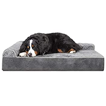 Image of Furhaven Pet Dog Bed | Orthopedic Chaise Lounge Sofa-Style Living Room Corner Couch Pet Bed w/ Removable Cover for Dogs & Cats - Available in Multiple Colors & Styles Home and Kitchen