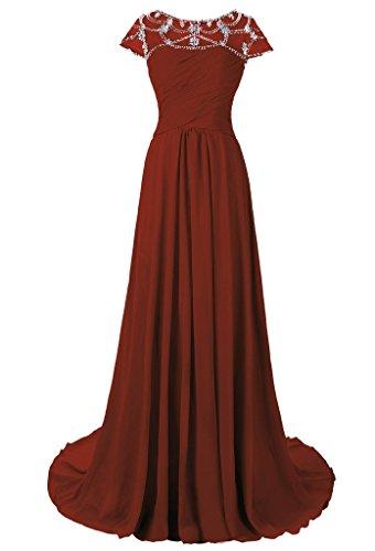 Dresstore Women's Scoop Beaded Mother of the Bride Dress Cap Sleeves Evening Gowns Dark Red US 14