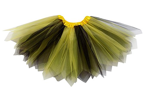 So Sydney Adult Plus Kids Size Pixie Fairy Tutu Skirt Halloween Costume Dress Up (XL (Plus Size), Yellow & Black)