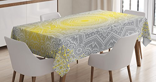 Grey and Yellow Tablecloth by Ambesonne, Mandala Ombre Old Boho Pattern with Spiral Round Floral Print, Dining Room Kitchen Rectangular Table Cover, 60 W X 90 L Inches, Yellow Grey (Ideas Beach Room Dining Themed)