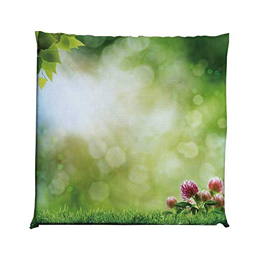 YOLIYANA Nature Durable Square Chair Pad,Fresh Spring Meadow with Blooming Wild Flowers Soft Blurry Morning View Decorative for Bedroom Living Room,One Size (Wildflower Hammock Chair Swing)