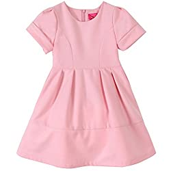 Bonny Billy Girl's 3D Flower Neck Letters Solid Short Sleeve Fall-Winter Dress Pink