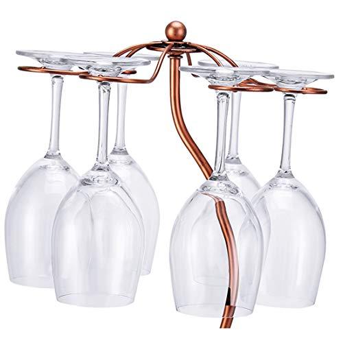 Countertop Wine Glass Rack Holder Wine Bottle Display Stands,Storage 6 Stemware 1 Bottle,Bronze Metal Bicycle (Bronze)