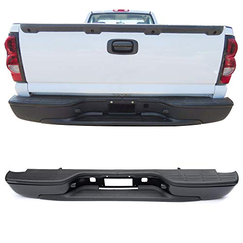 Rear Step Bumper Fits 99-06 Chevy Silverado GMC Sierra | SS Stainless Steel Black Bumper Pads Retainer by IKON MOTORSPORTS (Chevy Rear Bumper Silverado)