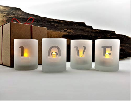 Love Valentine Candle Holders Set Of 4 Frosted Glass With LED Flameless Tealight Candles and Gift Box Included
