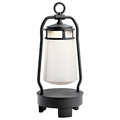 Kichler 49500BKTLED Lyndon Portable LED Lantern with Built-in Bluetooth Speaker, 1-Light, Textured Black