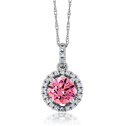 14K White Gold Solitaire w/Accent Stones Pendant White Diamond and Set with Fancy Pink Zirconia from Swarovski