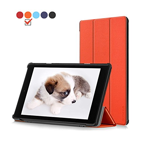 Roscea Case Protector for All-New Fire HD 10 Tablet(7th Generation,2017 Release) - Ultra Lightweight Protective Slim Stand Smart Cover with Auto Sleep/ Wake for Kindle Fire HD 10.1 Inch Tablet,Orange