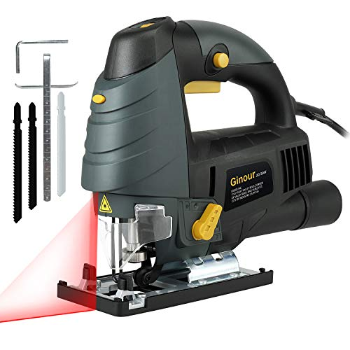 (Ginour 6.5 Amp Variable Speed Orbital Jigsaw Blade Set, LED & Laser Guide, 3PCS Blades, Jig Saw Set With Carrying Case, Bevel Angle (0°-45°), Long)