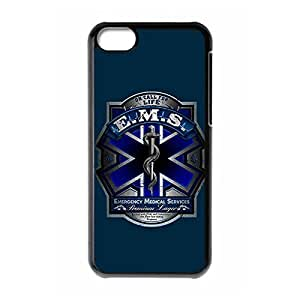Sophisticated Design Slim Hard Plastic Back Protective Case Shell Cover with Image for iphone 5c - EMT EMS Medical Rescue -Black 022603