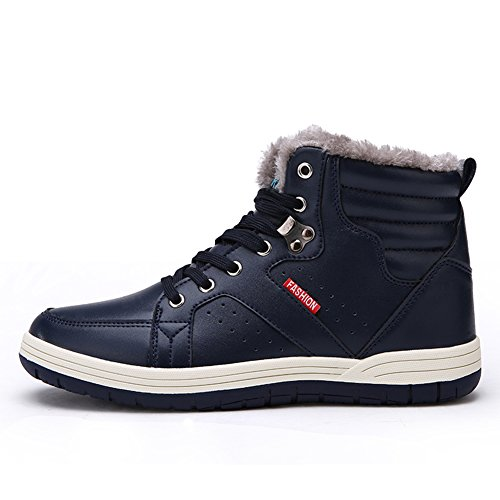 Eagsouni® Herren Schneestiefel Warm Gefütterte Winterschuhe Leder Wasserdicht Kurzschaft Stiefel Outdoor Winter Boots Blau