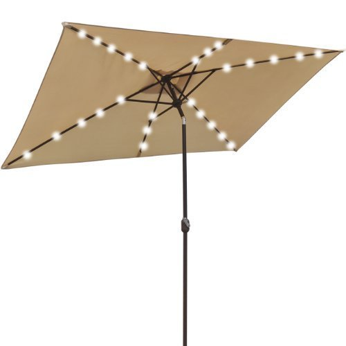 NEW 10'x6.5' OUTDOOR SOLAR POWERED 26 LED LIGHTS PATIO UMBRELLA RECTANGLE SUNSHADE-BEIGE by Strong Camel by Strong Camel