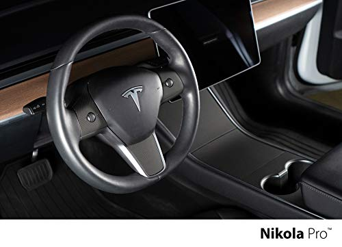 Nikola Pro Tesla Model 3 Center Console Steering Wheel Wrap Kit Bundle (Matrix Black)