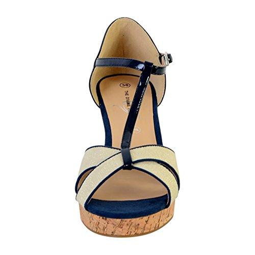 Bleu Factory Compensée Divine Sandale The wUxIFn5q