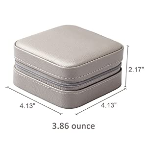 Vlando Macaron Small Jewelry Box, Travel Storage Case for Rings and Earrings - Grey