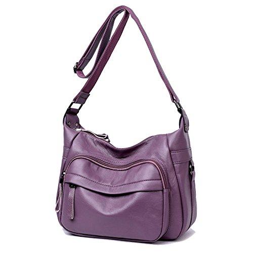 Bags Sanxiner Trendy B Crossbody Women's Multi Pocket Leather Handbag purple Shoulder Bag HwHqzpgAx