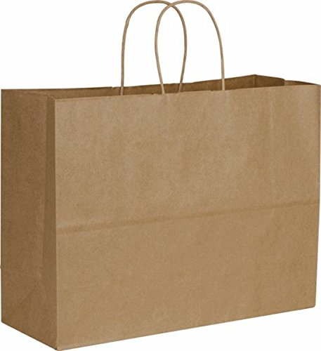 Paper Bags, Extra Large Kraft Paper Gift Wrap Shopping Bags, (Vogue Size 16W x 12H x 6), 25 Bags, Made in USA