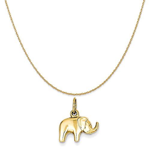 14k Gold Elephant Charm (14k Yellow Gold Elephant Charm on a 14K Yellow Gold Rope Chain Necklace, 18
