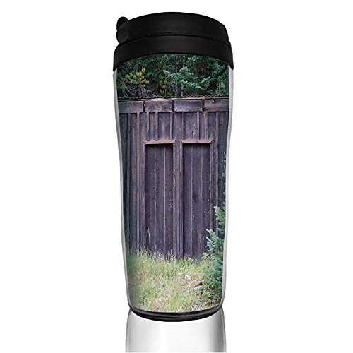 Stainless Steel Insulated Coffee Travel Mug,Door of Cottage Hut in Woodland Leaves Art Print,Spill Proof Flip Lid Insulated Coffee cup Keeps Hot or Cold 11.8oz(350 ml) Customizable printing -