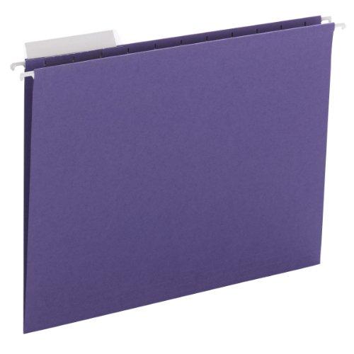 Smead Hanging File Folder with Tab, 1/3-Cut Adjustable Tab, Letter Size, Purple, 25 per Box (64023)