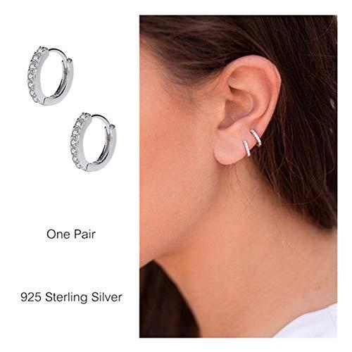 925 Sterling Silver Small Hoop Earrings Cubic Zirconia Cartilage Earring Earing Piercing Earrings Ear Cuff Huggie Tiny Hoops Earrings for Women Girls Men (8 Mm Endless Hoop Earrings)