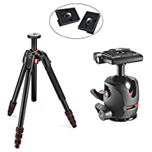 Manfrotto 190 Go! Aluminum 4 Section Tripod Kit with MH054M0-Q2 054 Magnesium Ball Head + 2 Bonus Replacement Quick Release Plates for the RC2 Rapid Connect Adapter