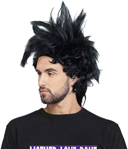 Red Mohawk Punk Rock Wig Rocker 70s 80s Black Rockstar Halloween Costume Hair OS