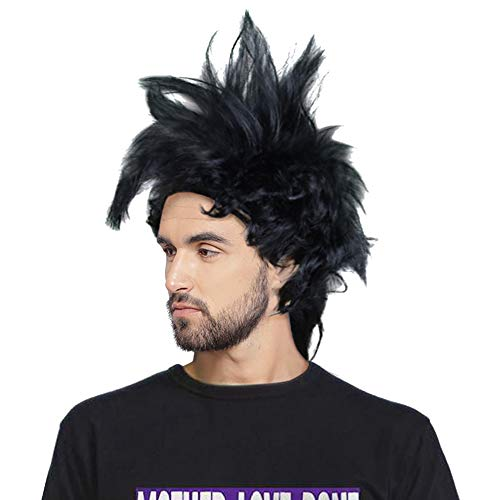 80s Rockstar Mohawk Wig Rock N Roll Crazy Spirit Heavy Metal Rock Band Singer Spiky Hair Halloween Party Costume Accessories -
