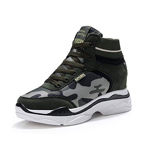 XXHC Women Pump Sneakers Camouflage Wedge High Top Heeled Hollow Out Ankle Boots (7 M US, ()