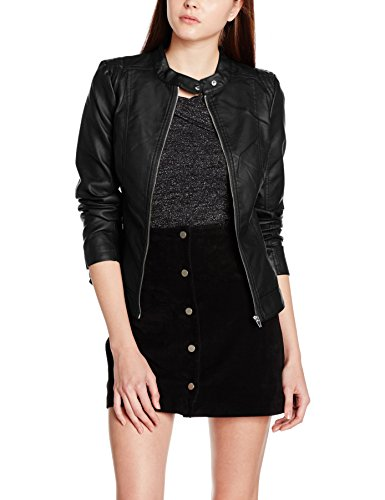 Black Viaya Vila Blouson Black Noir Femme Faux Jacket Noos Leather HwCxfgqwz