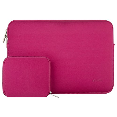 MOSISO Water Repellent Lycra Sleeve Bag Cover Compatible 13-13.3 Inch Laptop with Small Case Compatible MacBook Charger, Rose Red