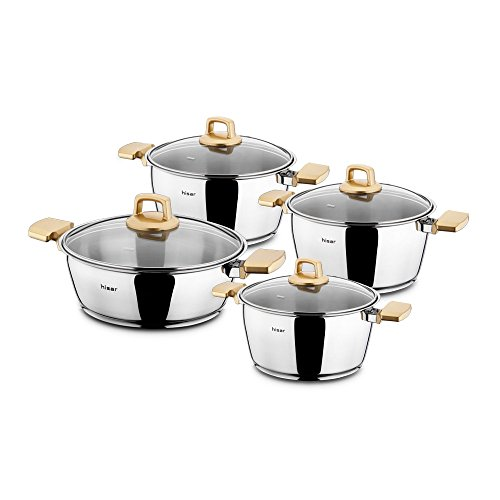 Hisar 8 Piece Neptun Stainless Steel Pot Set, Gold by Hisar