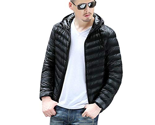 Hood Stand Ultra Coat Slim Winter Jacket Comfortable Men's Battercake Warm Down Hooded Jackets Lightweight Quilted Jacket Schwarz Down Collar Ozwtpqx1