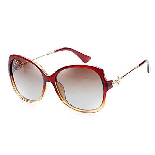 QZ Moda Marrón Cara Sol Protección De De HOME Vino Color Rojo Gafas UV Elegante Gafas Redonda rXqrA