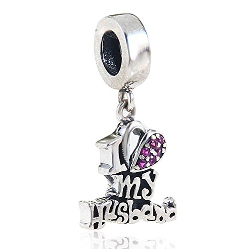 Husband Dangle Charm 925 Sterling Silver Christmas Gift Beads Charm fit diy Charms Bracelets (I Love My Husband)