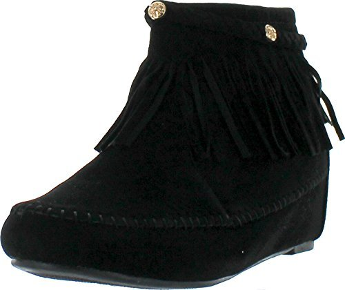 Bella Marie Campus-28 Women's Round Toe Moccasin Ankle high with Tassel & Plait Decor Side Zipper Suede Boots Black 8 ()