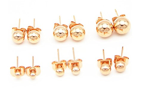 316L Surgical Stainless Steel Rose Gold Round Ball Studs Earrings 6 Pair Set Assorted Sizes - Childrens 3mm Gold Earrings