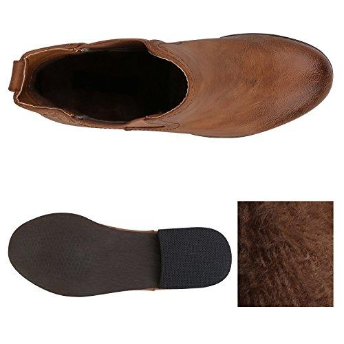 Stiefelparadies Damen Stiefeletten Velours Chelsea Boots Leder-Optik Booties London Style Übergrößen Gr. 36-42 Blockabsatz Schuhe Flandell Hellbraun Avelar