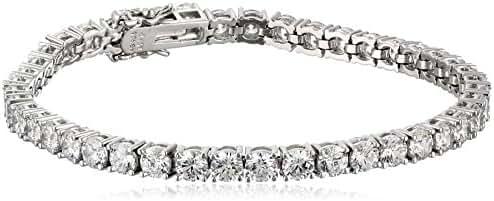Platinum or Gold-Plated Sterling Silver Swarovski Zirconia Round-Cut Tennis Bracelet