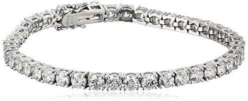 Platinum Plated Sterling Silver Tennis Bracelet set with Round Cut Swarovski Zirconia (16.77 cttw), - Bracelets Bling Body